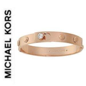NWT authentic MK rose gold bracelet crystal hinged
